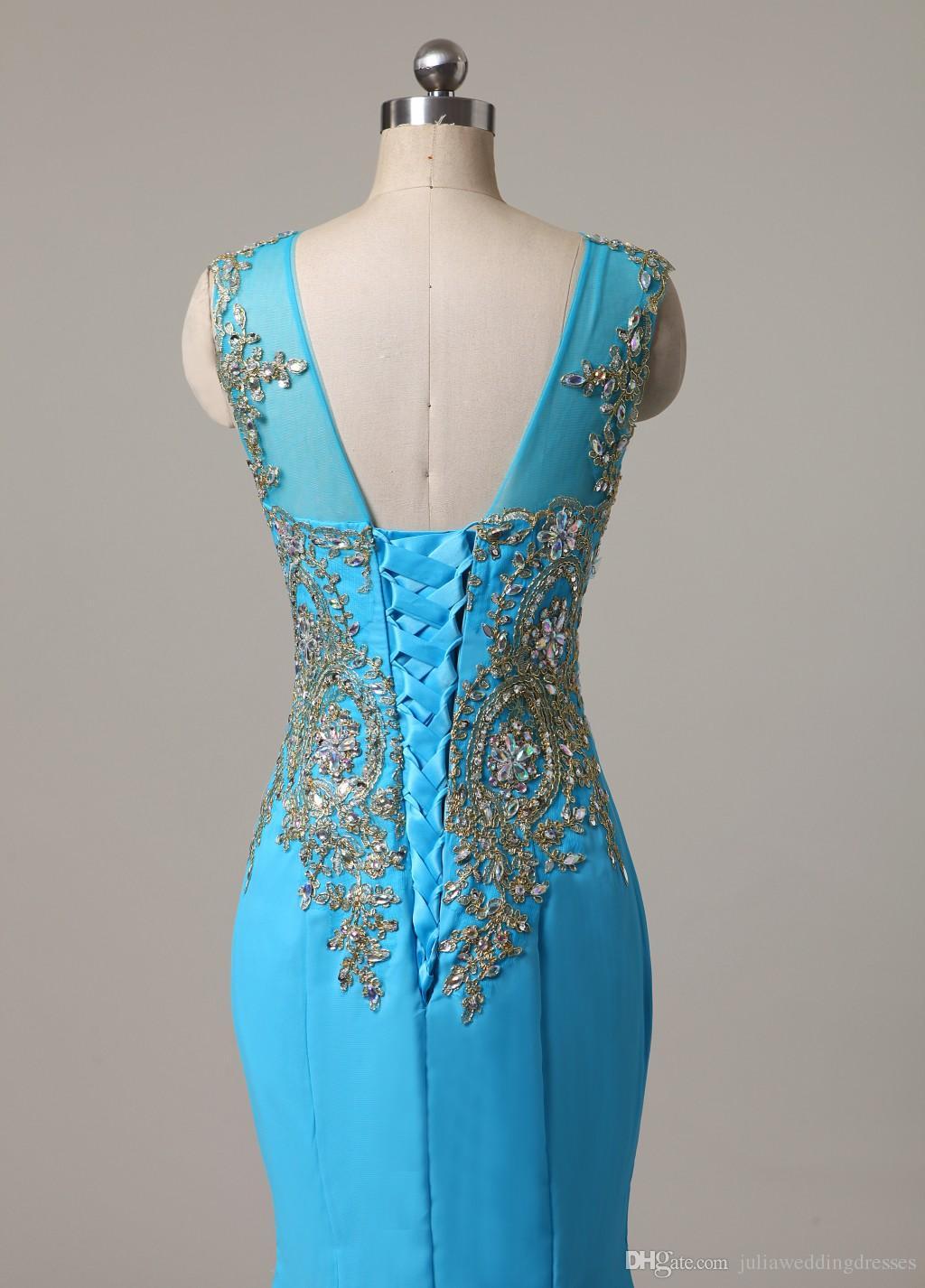 2021 New Black Blue Long Lace 인어 정식 이브닝 드레스 Scoop 크리스탈 레이스 업 대회 댄스 파티 가운 재고 Q15