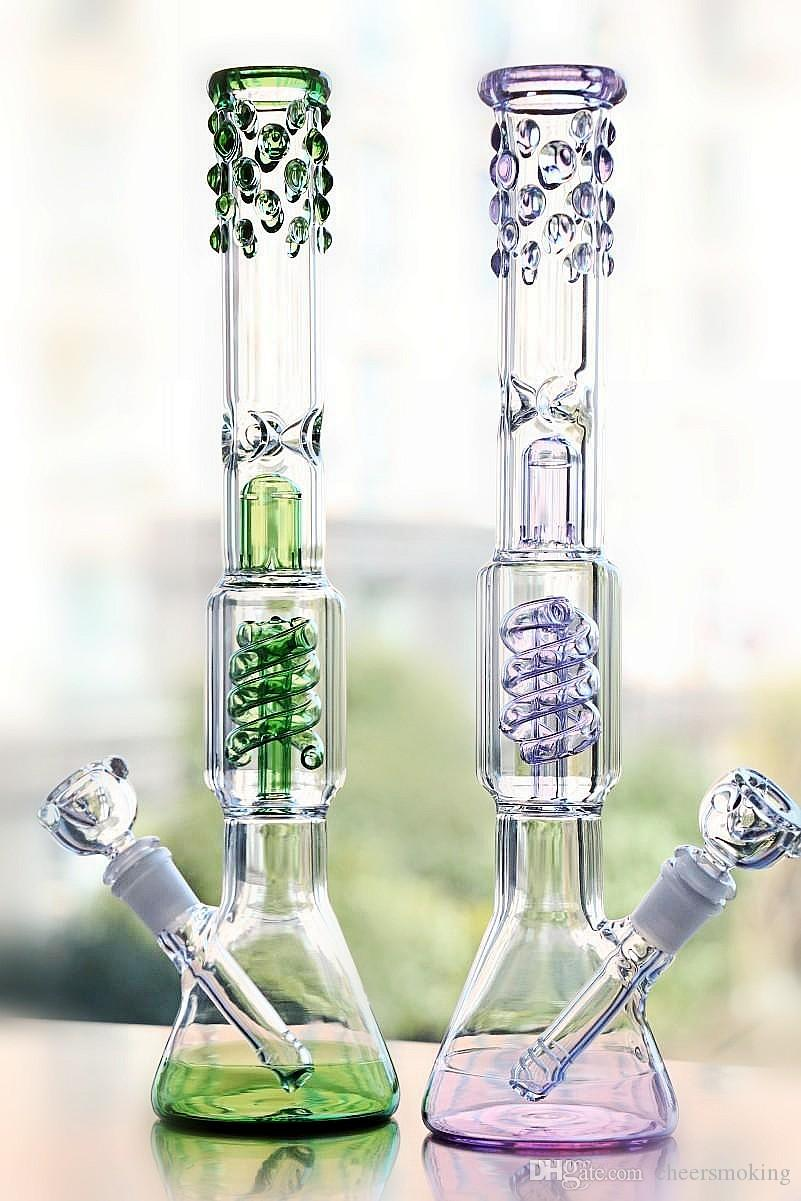 2020 Long Green Glass Bongs Grosso Glass Fumar Tubos De Mel Honeycomb Duas Funções Receler Atacado Bongs Vidro Nova Chegada