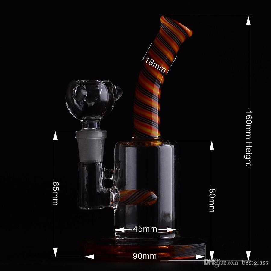 160mm Mini Bubbler Verre Cat Catcher Inline Percolator Pipe à Eau Rig Rig Bong Amber Couleur Base d'Anneau avec 14 # Joint BestGlass M09-1