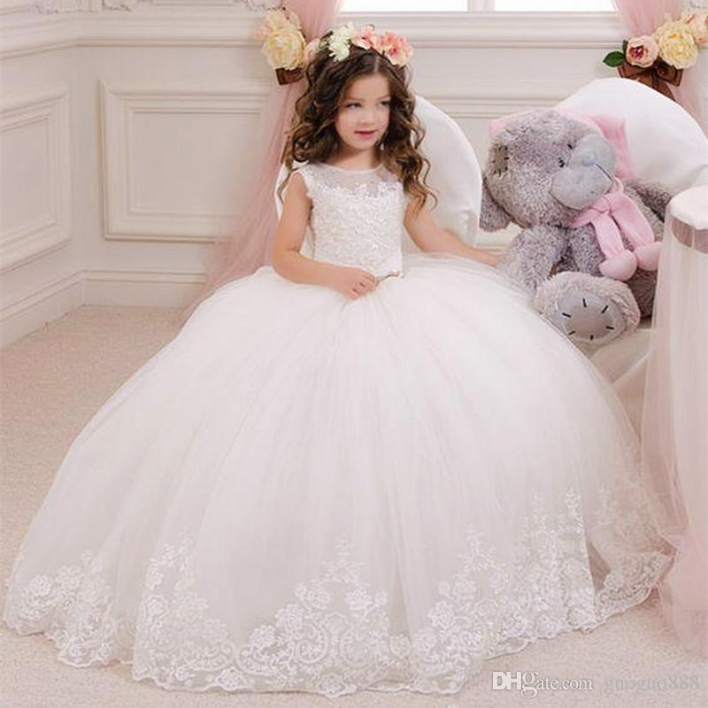 Lace Ball Gown Little Bridal Flower Girls Dresses For Wedding Party  Princess Ruffle Bow Floor Length Tulle Pageant Communion Gowns Wedding  Flower Girl