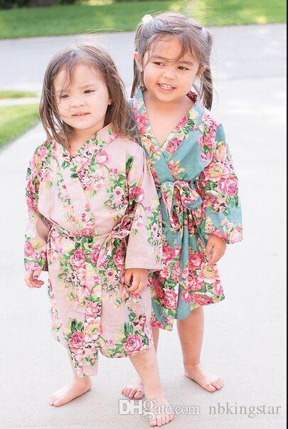 أطفال القطن الزهور كيمونو رداء البشكير زهرة الأطفال ثوب النوم ل سبا حفل زفاف عيد