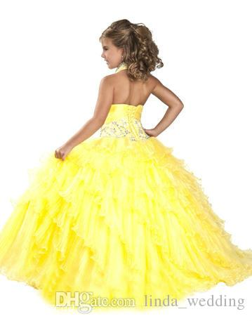 Cute Yellow Girl's Pageant Dress Princess Halter Beaded Ruffles Party Cupcake Prom Dress For Short Girl Pretty Dress For Little Kid