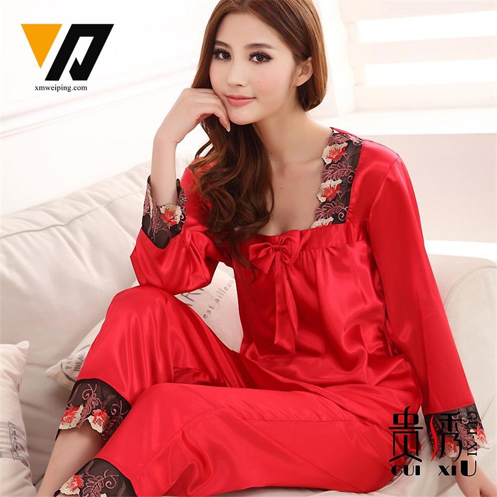 5f3242de3a2b Wholesale- XMWEIPING Womens Silk Satin Pajamas Sets Ladies Sleepwear ...