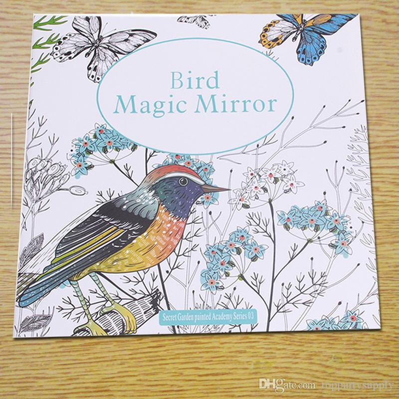 2525cm Bird Magic Mirror Coloring Book For Adult Kids Secret Garden Art Children Relieve Stress Painting Drawing Books Colouring Pages
