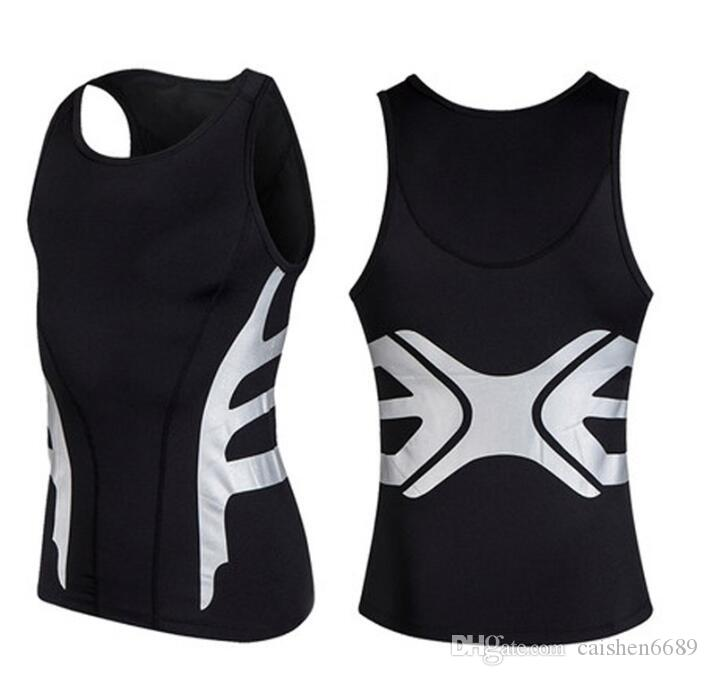 Mens Running Gilet Compress Sleeveless T-shirt Spandex Fitness Athletic Gym Running Chemises