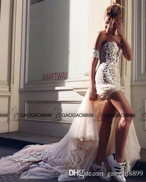 Pallas Couture Mermaid Split Wedding Dresses 2016 Champagne Church Train Off-shoulder Elegant Country Garden Berta Wedding Gowns