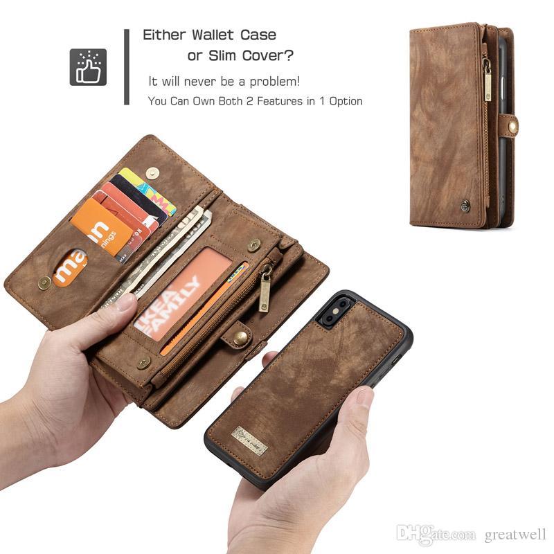 Caseme Cartera de cuero magnético del caso de la caja del cuero partido de la ranura de la cremallera del bolso multi para el iphone 12 11 Pro Max XS XR 6 7 8 Plus CaseMe008