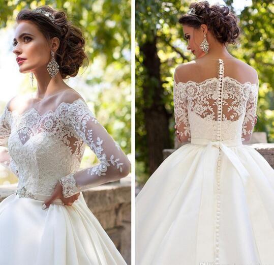 Discount Millanoba 2016 Dominica Wedding Dresses Sheer Neck ...