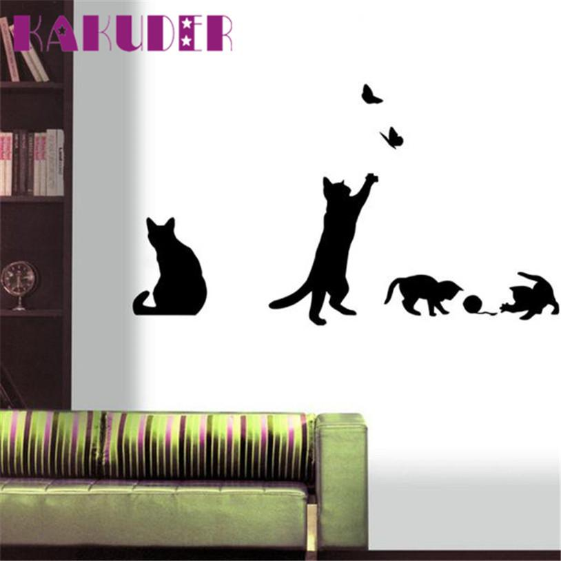 Wholesale- Fashion Wall Stickers Cat Stickers Living Decor Tv Wall Decor Child Bedroom Vinyl for kids rooms adesivos de parede poster