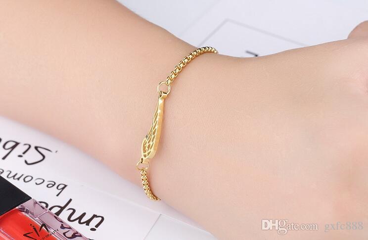 18K or rose bijoux de mode bijoux titane acier ange ailes bracelet longueur réglable