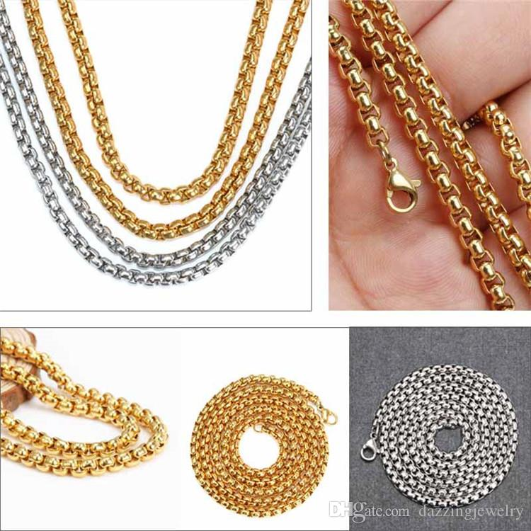 24'' 60cm and 20'' 50cm 316L Stainless Steel 2.5mm 3mm 4mm Square Rolo Chain Floating Locket Chain Floating Charm Locket Men Necklace
