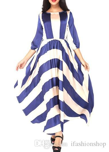 7efa7d0682a Three Quarter Sleeve Stripe Print Maxi Dress Hot Sale Casual Dress In  Autumn Strapless Dress White Cocktail Dress From Ifashionshop