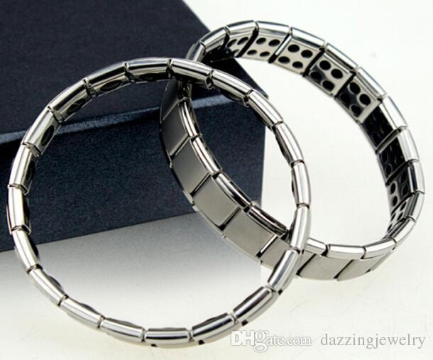 زوجين الرجال النساء الكم الطاقة الحيوية الفولاذ المقاوم للصدأ الإمتداد سوار مع الجرمانيوم الحجر المغناطيسي مجوهرات الصحة لمحبي