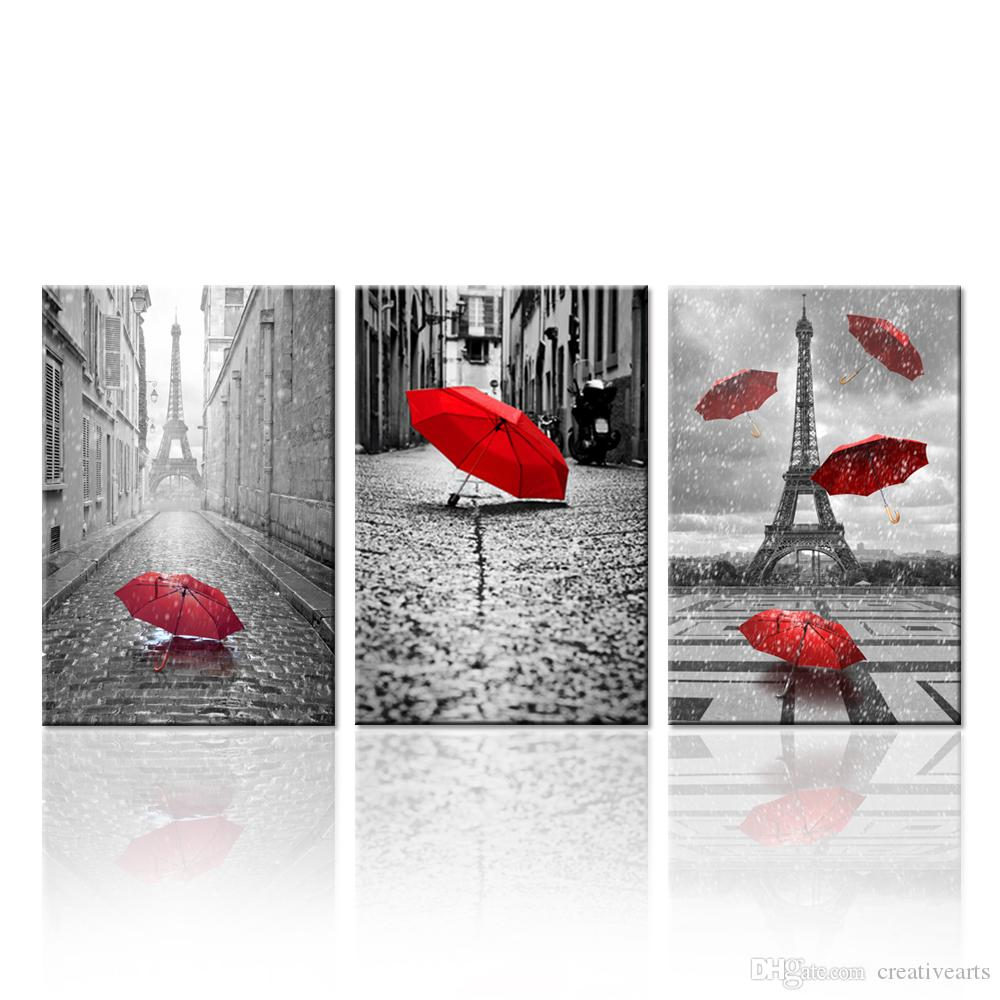 2018 contemporary wall art canvas black and white eiffel tower with red unbrella on paris street. Black Bedroom Furniture Sets. Home Design Ideas