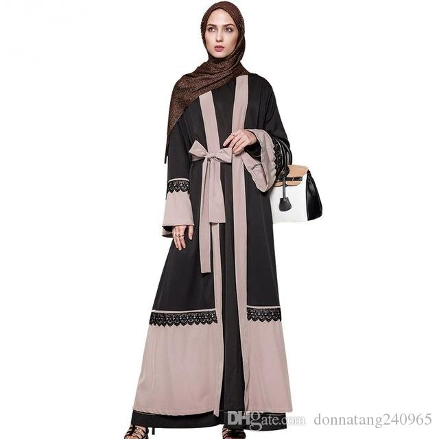 8859482613f8 Acquista Big Size 5XL Elegante Cardigan Di Cucitura Di Pizzo Abito  Musulmano Islamico Di Moda Donna 2017 Medio Oriente Abito Saudita Maxi  Lungo Nazionale ...