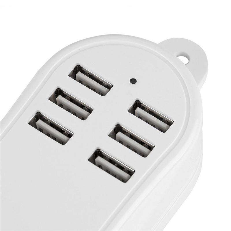 Desktop USB Charger HUB 6 Ports US EU UK Plug Wall Socket Dock Fast Charging Extension Power Adapter for Cell Phone Tablet