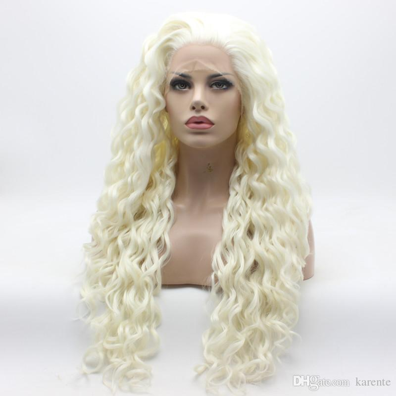 Iwona Hair Curly Long White Wig 18#1001 Half Hand Tied Heat Resistant Synthetic Lace Front Wigs