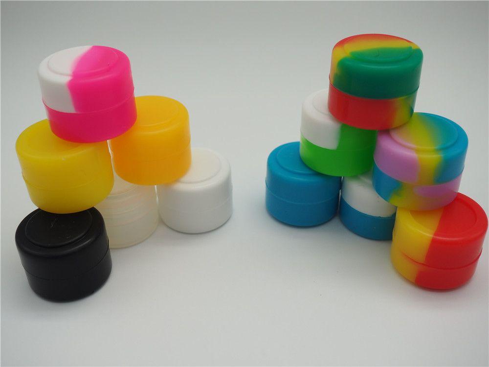 2 ml recipientes de cera caixa de silicone de silicone recipiente de silicone grau de alimentos frascos de ferramentas de armazenamento de ferramentas de armazenamento porta do óleo para vaporizador Vape FDA aprovado