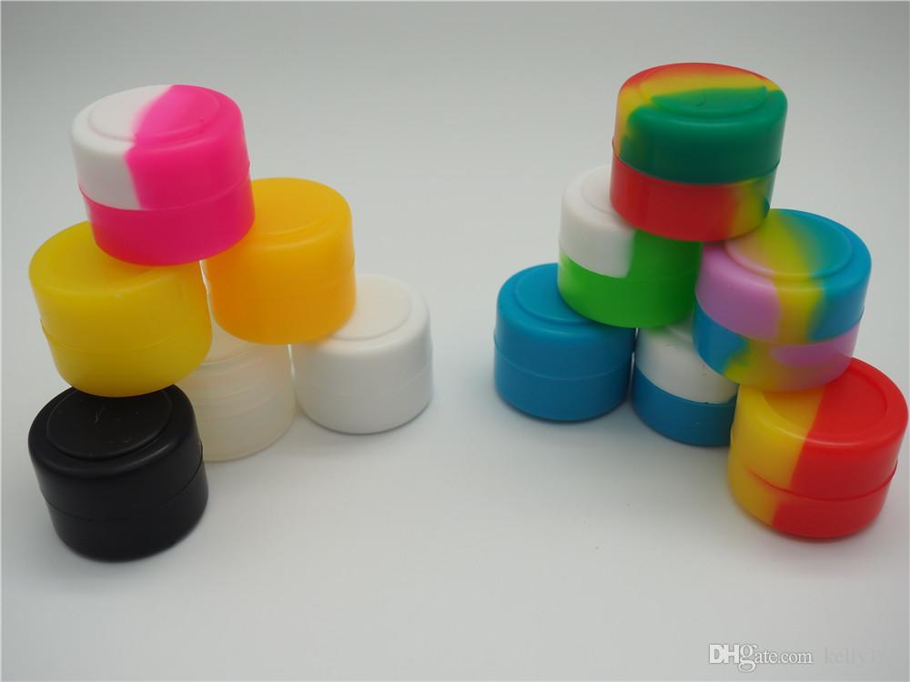 Nova chegada recipientes de cera caixa de silicone 2ml contêiner de silicone não-stick grau de alimentos cera frascos de armazenamento jarro de armazenamento titular de óleo para vaporizador vaporizador