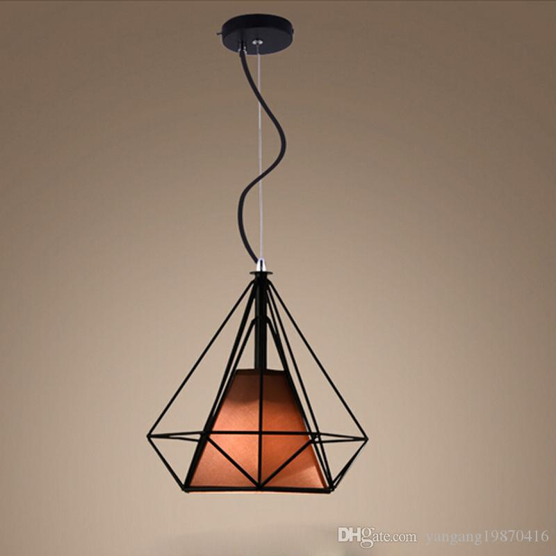 Modern black birdcage pendant lights iron minimalist retro light modern black birdcage pendant lights iron minimalist retro light scandinavian loft pyramid lamp metal cage with led bulb blue pendant light drum pendant aloadofball Image collections
