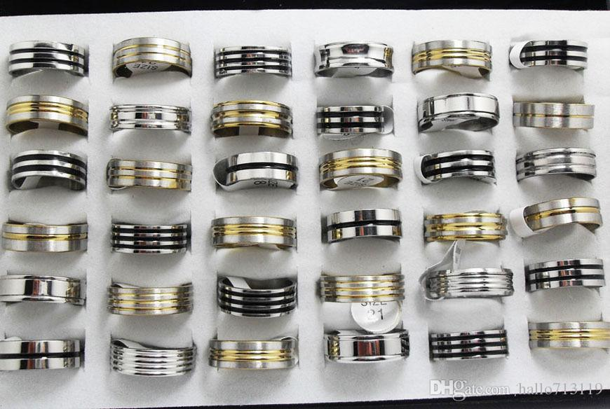 Top Mix of Men Women Stainless Steel Rings gold silver black enamel MIX Wholesale Fashion Jewelry