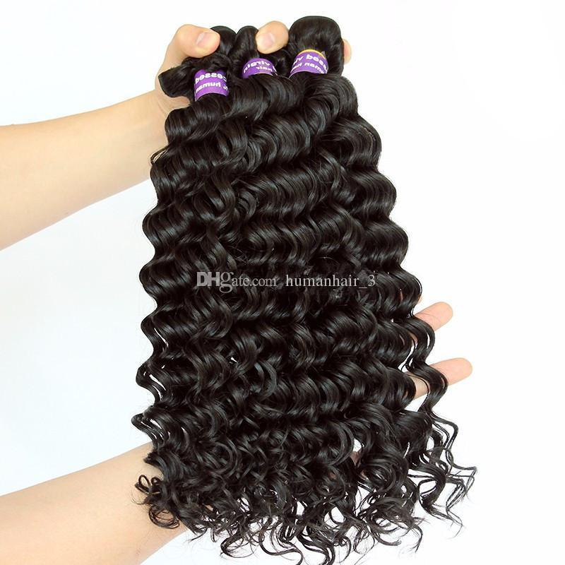 9A Deep Wave 360 Lace Frontal con paquetes Deep Curly Raw Indian Remy Human Remy Con 360 Lace Frontal Closure y Baby Hair