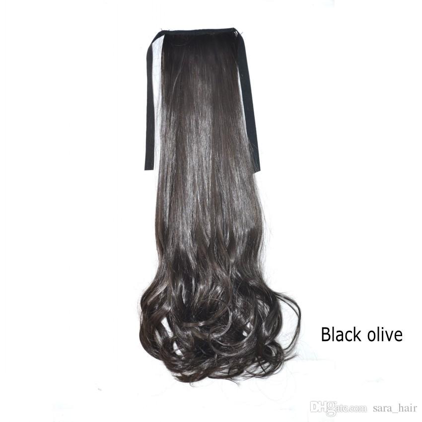 Sara Natural Brown Curly Wave Drawstring Ribbon Ponytail Hair Extension Hairpiece 45CM,18INCH Synthetic Ponytails Long Pony Tail Hairpiece