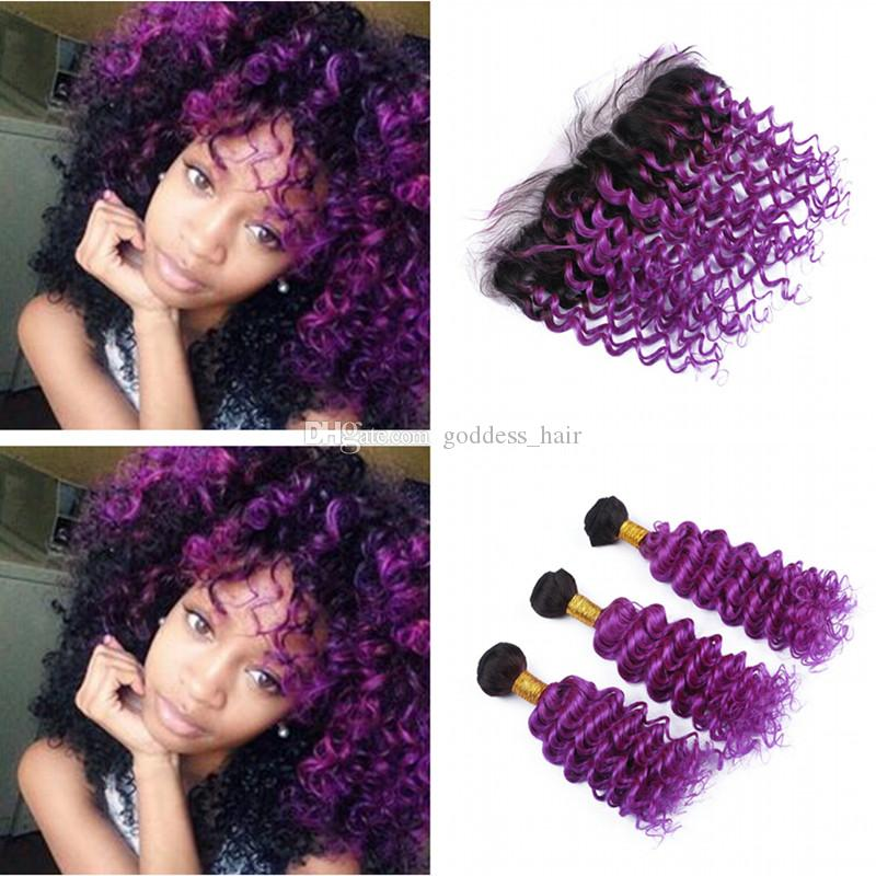2018 Ombre Color 1b Purple Deep Curly Hair Extension With Frontal