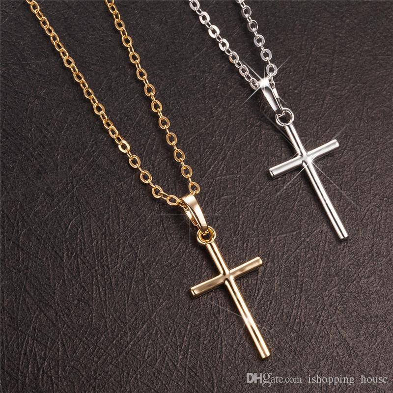 2 Farben Beste Valentinstag Geschenk Vergoldet Jesus Kreuz Halskette Jesus Halskette Schmuck für Freundin Hochzeit Party Geburtstag Geschenke