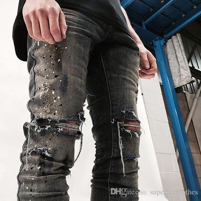 2016 NOUVEAU top hiphop pantalons hommes déchiré combinaison frazzle jeans marque de créateurs de mode affligé Hole jeans 30-36
