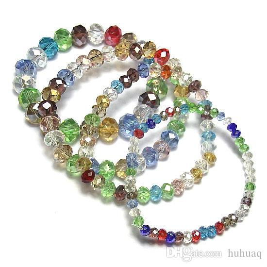 Yepyeni ucuz el yapımı moda bilezikler bayanlar için renkli streç kristal boncuk bilezikler kız Moda Tedarikçisi takı