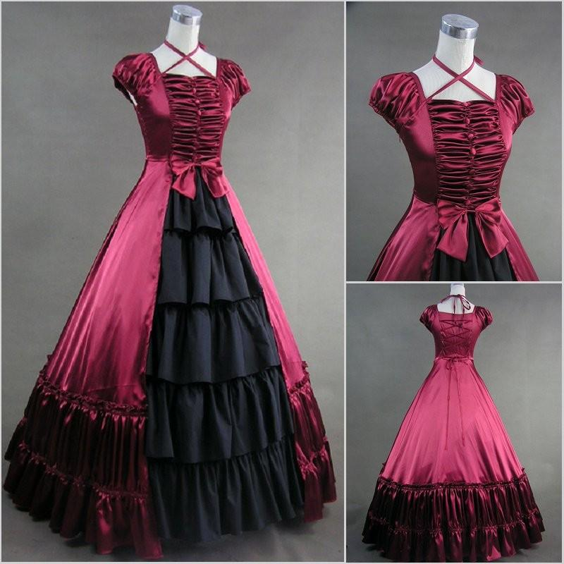 GT019 Short Sleeve Gothic Lolita Southern Bell Dress Gothic Victorian Ball Gown Fancy Dress Prom Halloween Party Costume