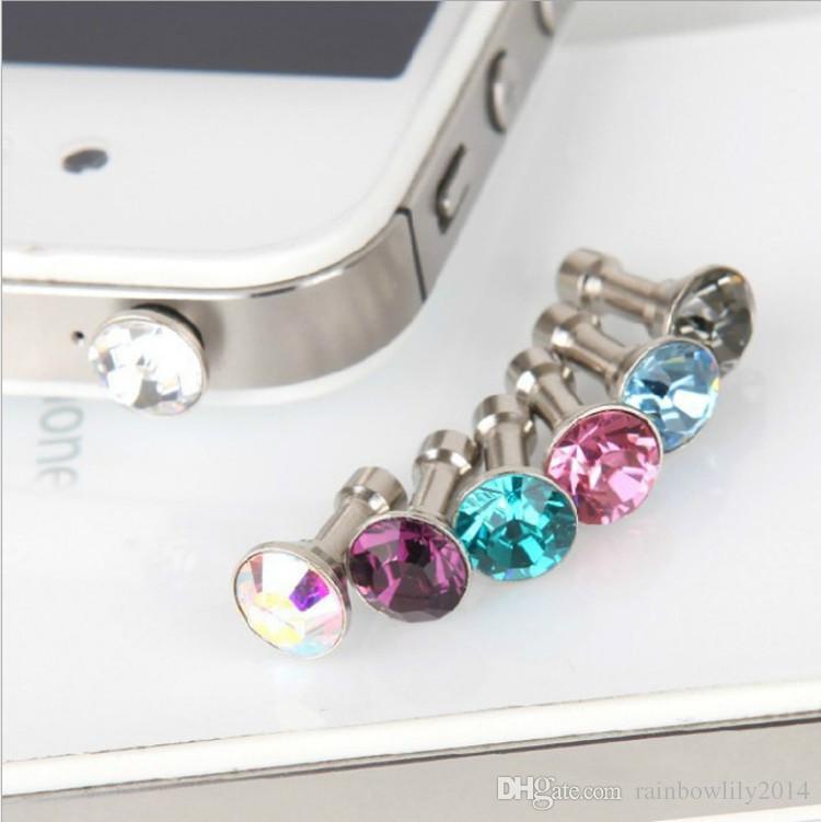 Universal 3.5mm Crystal Diamond Anti Dust Plug Jack a prueba de polvo del auricular para Iphone 5 6s 6s más teléfono inteligente envío gratis