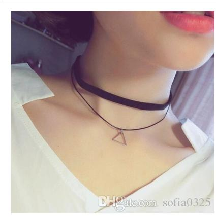 c22e7767b61c5 Necklaces 2016 Multi-Layer triangle Choker Necklace Charm lmany types  Pendants Necklaces for Women Black Lace Chokers