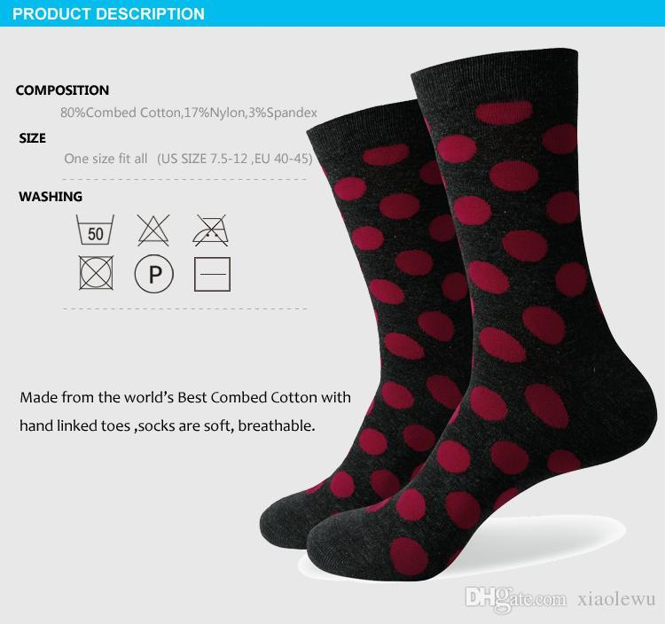 Chaussette colorée Big Dot pour hommes 2016, chaussettes en coton, expédition gratuite, taille US 7.5-12 341