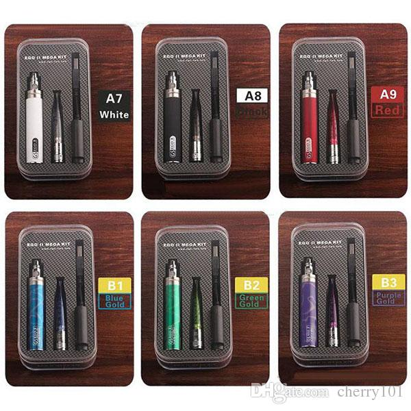 GS Ego II Mega Kit Ego II 2200mah Battery With GS-H2S Clearomizer 100% genuine GS EGO II Kit with various colors Free DHL
