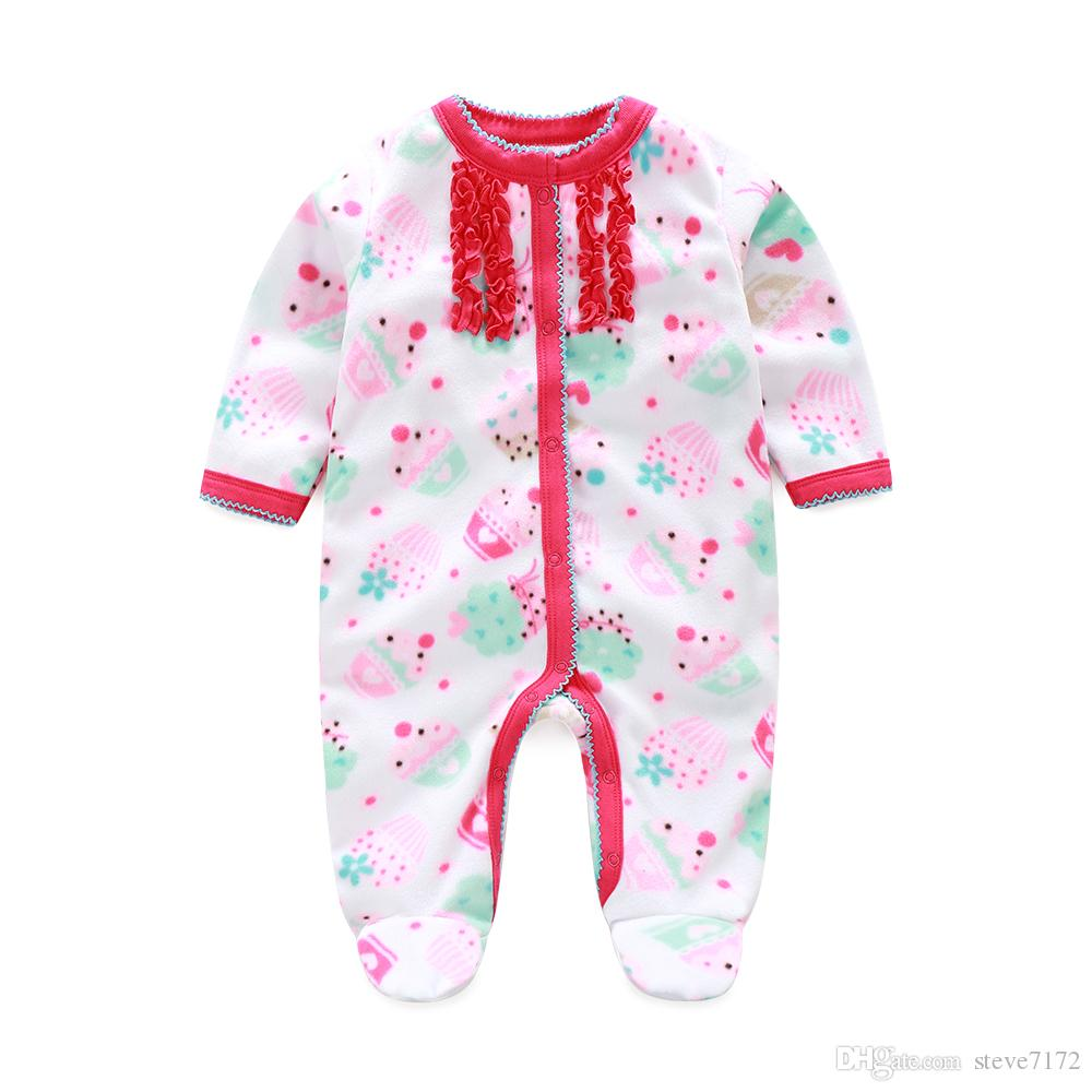 eb96b75d3 Cake Baby Girls Rompers Pajamas Fashion Newborn Footcover Long ...