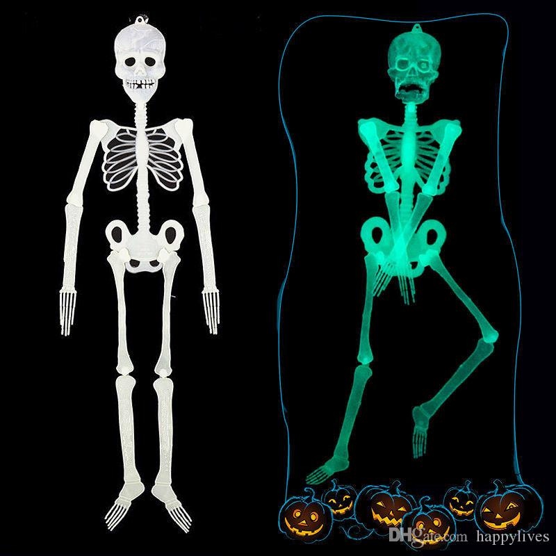Halloween Party Supplies New Scary Diy Luminous Human Skeleton Hanging Decor Halloween Party Skull Decor The Haunted House Decoration Bar