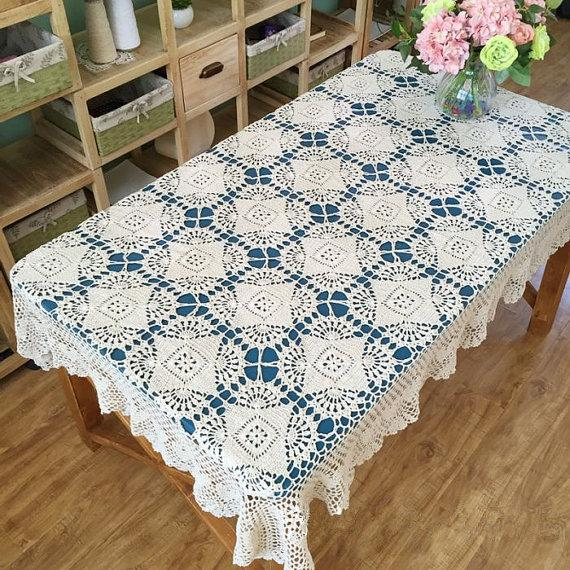 New Arrival New Crochet Pattern Table Cover Oblong Hand Crochet