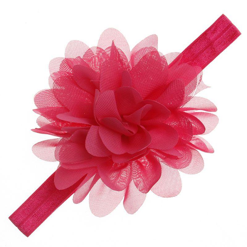 Newborn Baby Headbands Flower Chiffon Hairbands Children Kids Hair Accessories Princess Elastic Lotus Flower Headdress KHA79