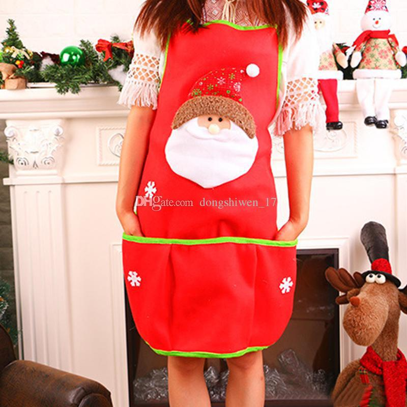 Christmas Apron Christmas Gifts Santa Claus Snowman Printed Aprons With Pocket For Cooking Baking Bbq Kitchen Tool Christmas Decorations Personalized Apron