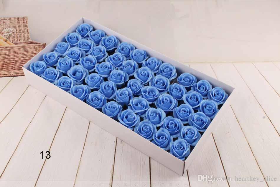 Neues Jahr Soap Flower 6cm Künstliche Rosen High Grade Box-packed Romantisches Valentinstag Geschenk Hochzeit Blumen Freies Schiff