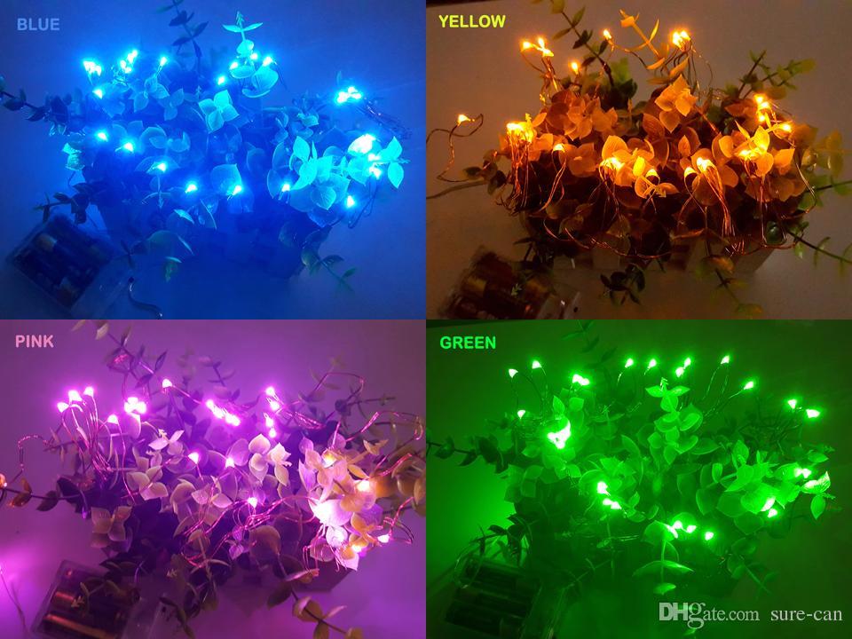 Ucuz 2 M 3 M 5 M Parti Noel led Pil Gücü Kumandalı 20 30 40 50 LEDs bakır tel / gümüş Tel Dize Işık Lambası