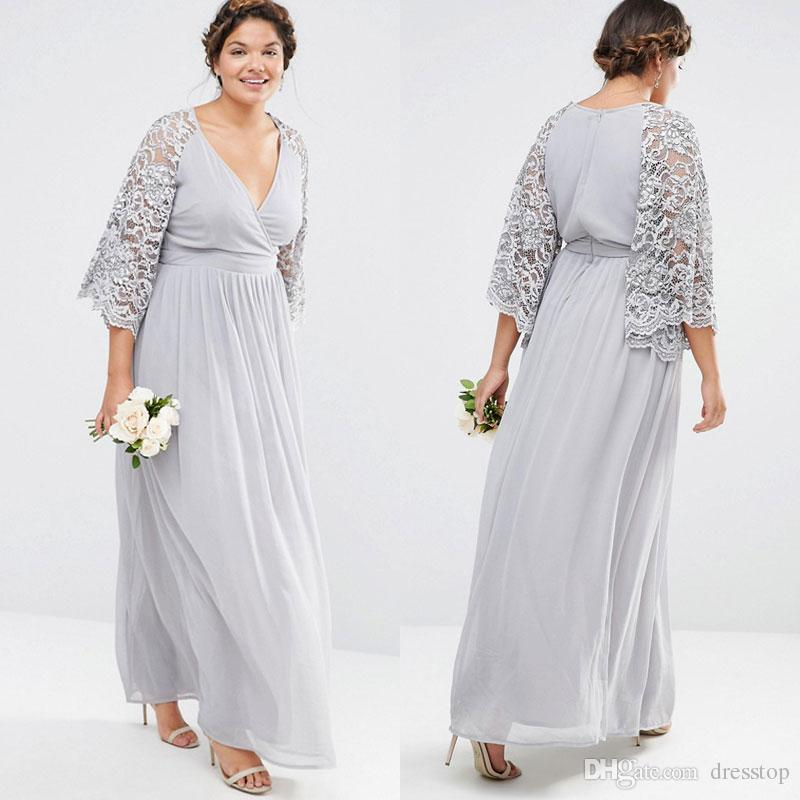 New Arrival Plus Size Bridesmaid Dresses With Lace Sleeves V Neck A