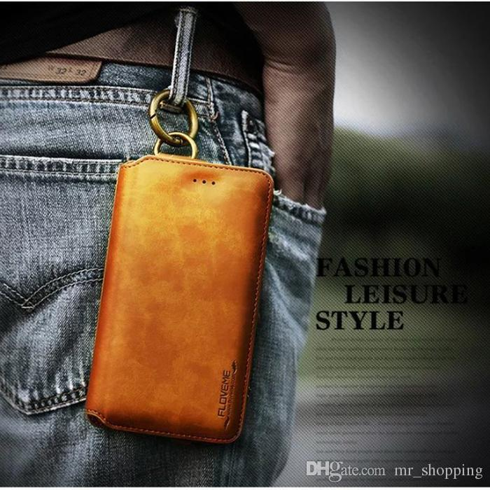 2 in 1 multi FLOVEME wallet pu leather case fixed bracket solid support cellphone bag with credit card slot for iphone mobile phone