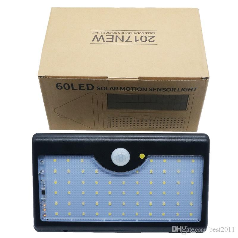 Upgraded Version 60LEDS Solar Lights Outdoor with Remote Control 5 Mode Solar Light 1300lm Top Bright Bigger Battery