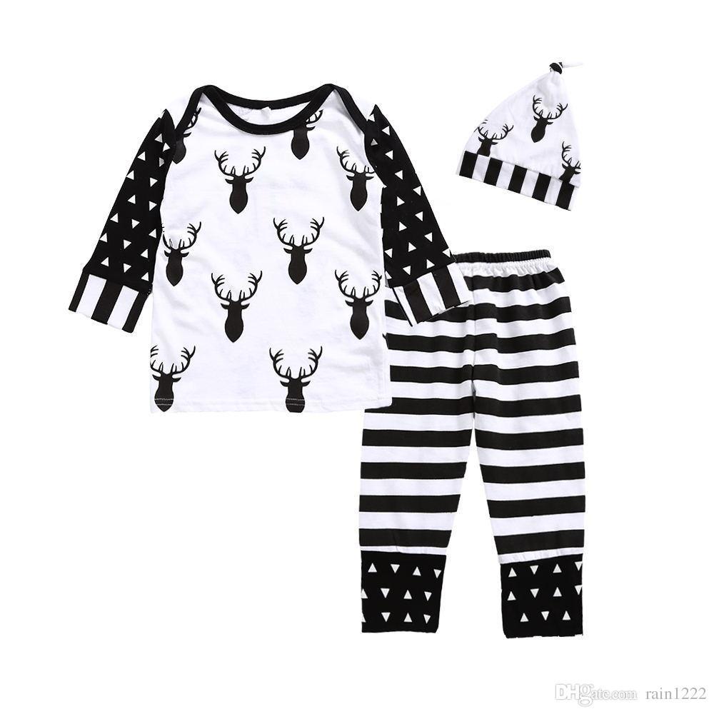 2017 Christmas Pajamas For Baby Xmas Christmas Deer Long Sleeve Striped Sleepwear Night Clothes Babies Toddlers Cotton Pajamas Suits