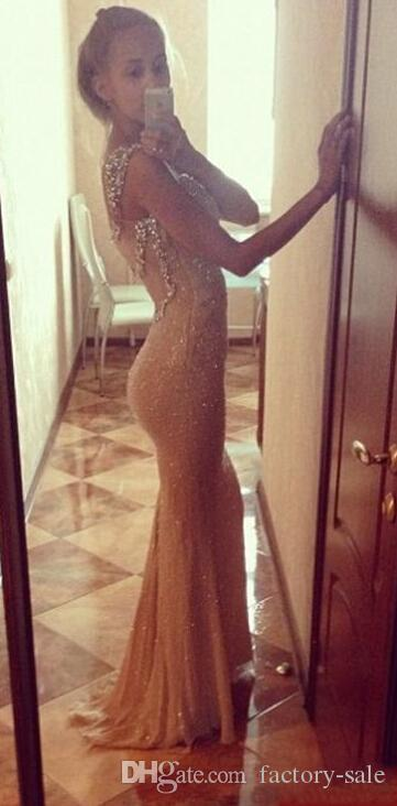 Bling Gold Sequins Sexy Mermaid Evening Dresses Spaghetti Straps Backless Crystals Straps Long Prom Dresses Party Gowns for Juniors 2017