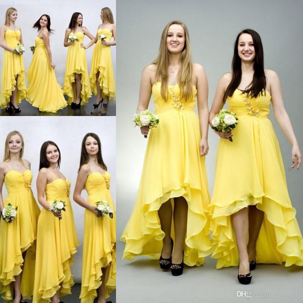 Cheap yellow chiffon high low bridesmaid dresses spaghetti pleats cheap yellow chiffon high low bridesmaid dresses spaghetti pleats front short back long 2016 summer maid of honor wedding guest party gowns one shoulder ombrellifo Images