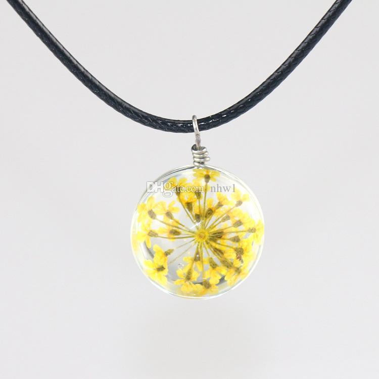 Moda cristallo vetro palla trifoglio collana lunga striscia in pelle catena fiori secchi collane ciondolo donna gioielli 2016
